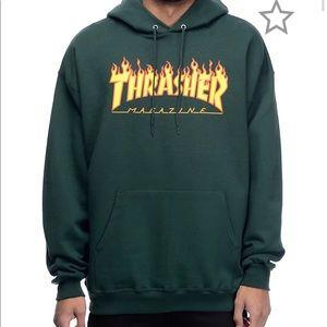 Green Thrasher Hoodie W/ Yellow& Orange Logo